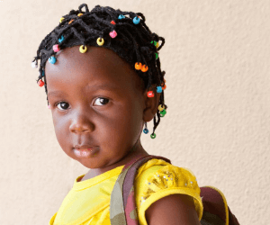 little girl hairstyle with beads, Easy little girl hairstyles with beads, Toddler braided hairstyle with beads.Little girl box hairstyles with beads