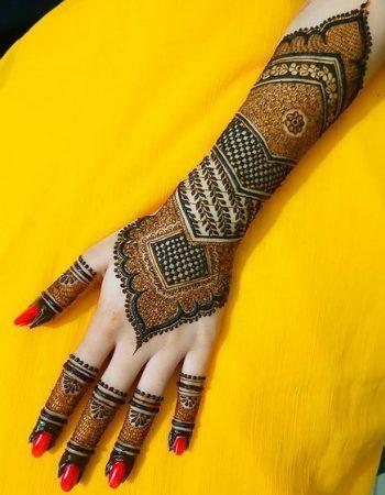 Modern royal front hand mehndi design