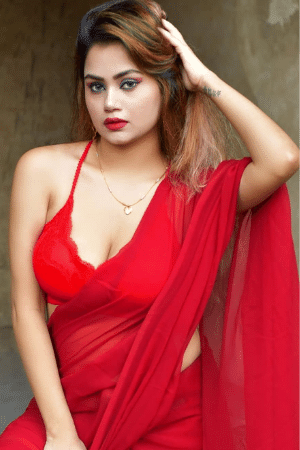 Hot girl in red saree