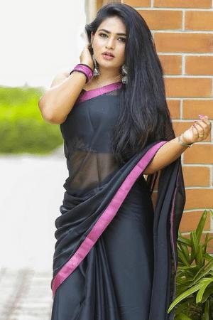Hot girl in black saree