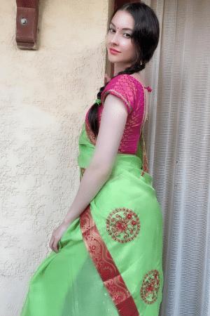 hot girl in blue saree